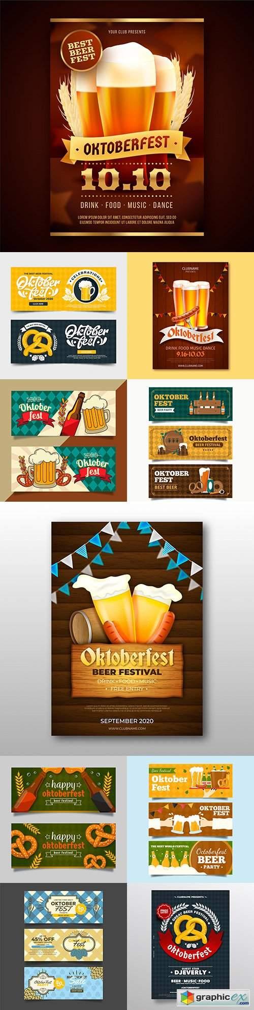 Oktoberfest festival beer party vintage illustration 8