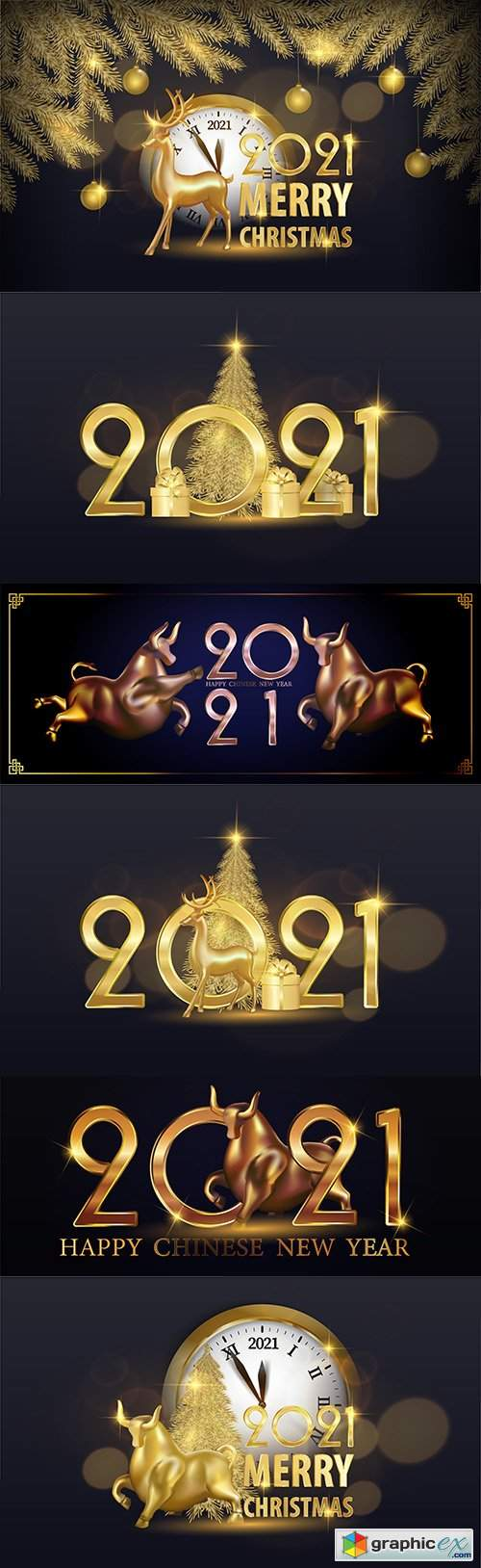 Festive design inscription 2021 New Year's illustrations