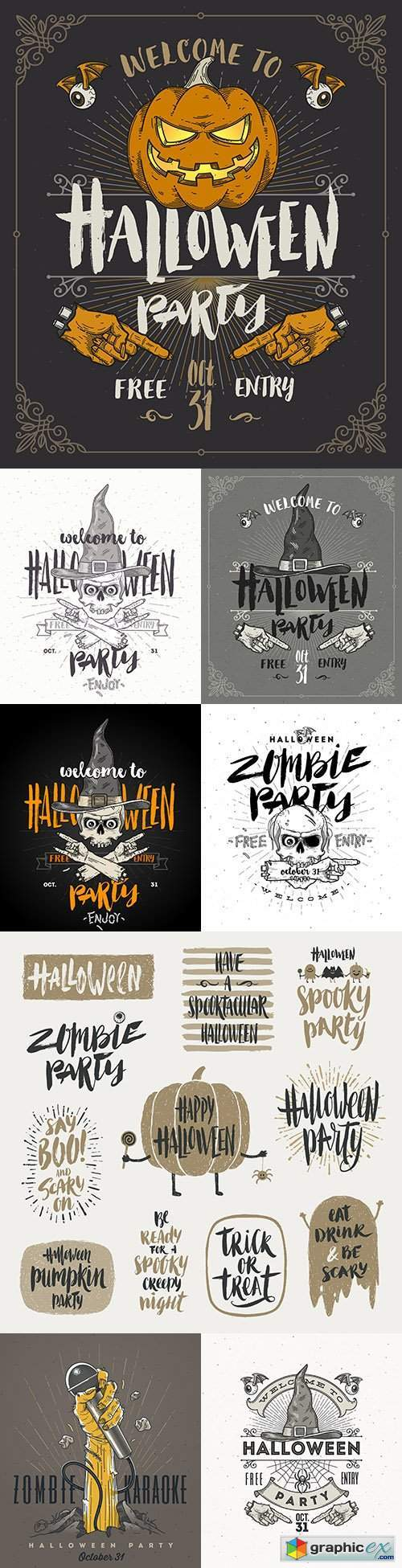 Halloween poster or invitation vintage design illustration
