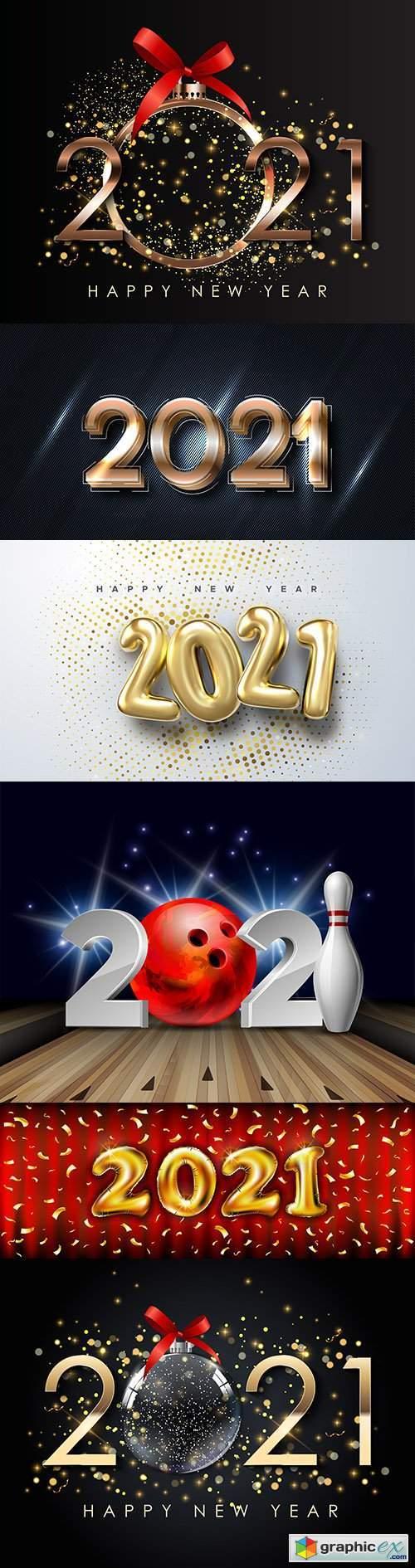 2021 New Year's illustrations Festive design inscription