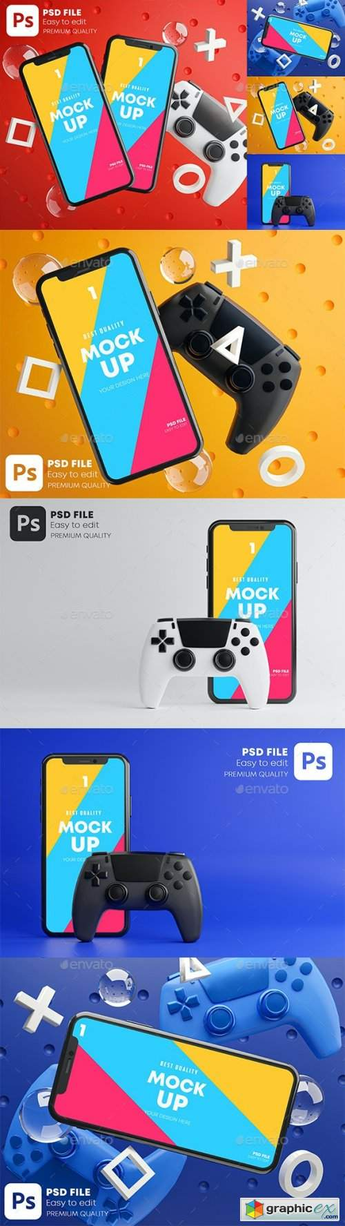 Smartphone Mobile Gaming Mockup Gamepad Pack