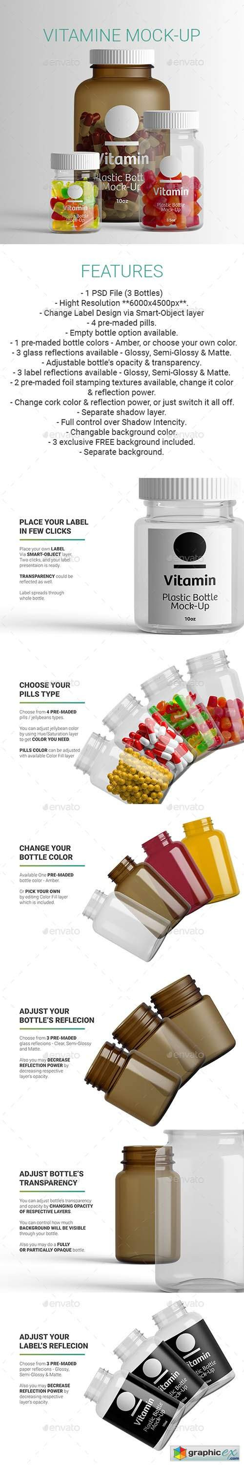 Vitamine Pills Bottle Mock-Up