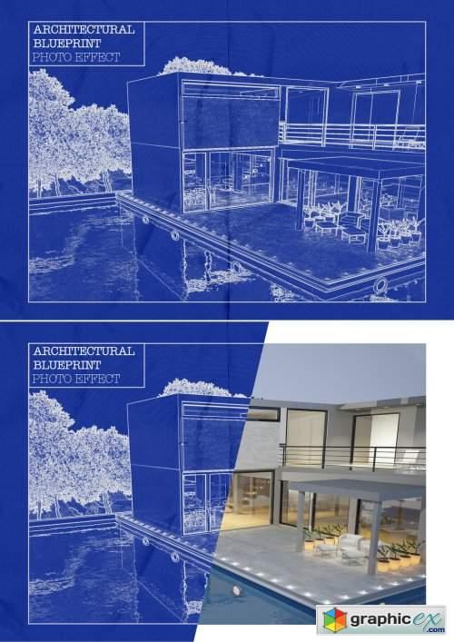 Architectural Blueprint Photo Effect Mockup
