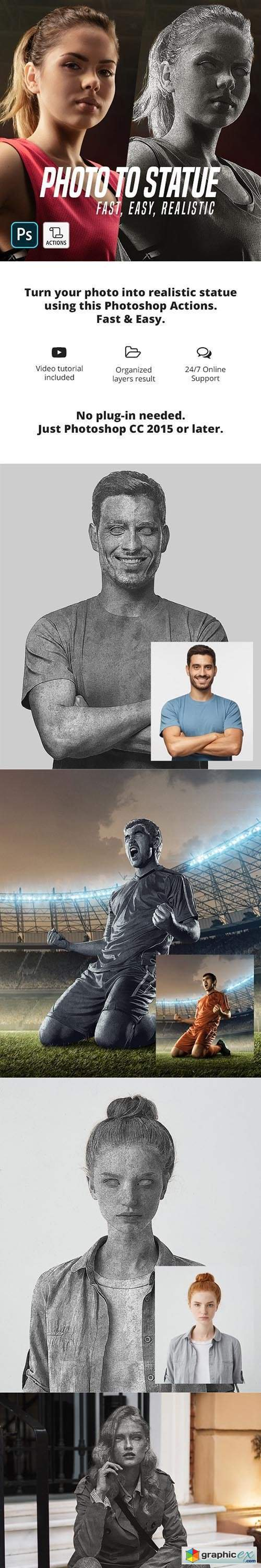 Photo To Statue Photoshop Action
