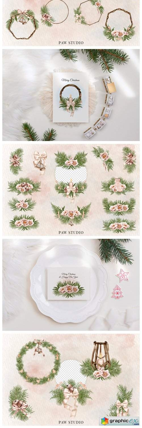 Christmas Border Wreath Winter Bouquet