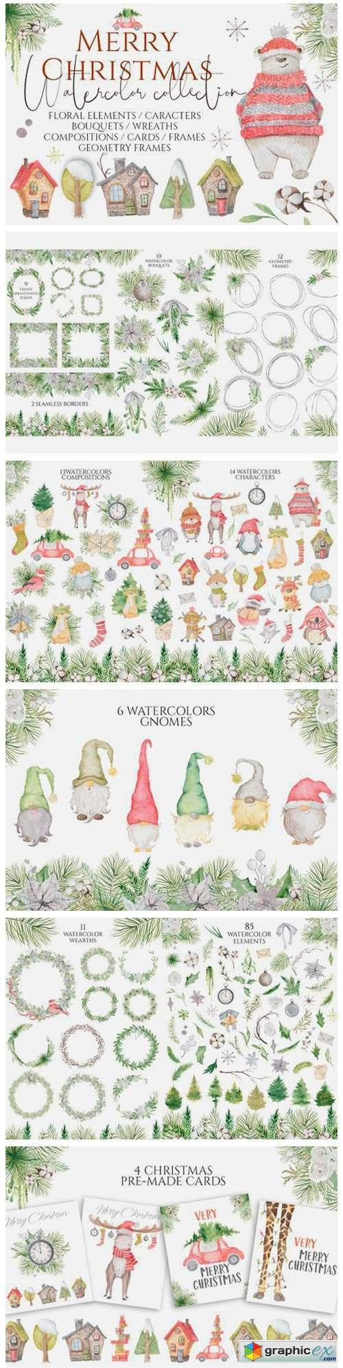 Christmas Watercolor Characters