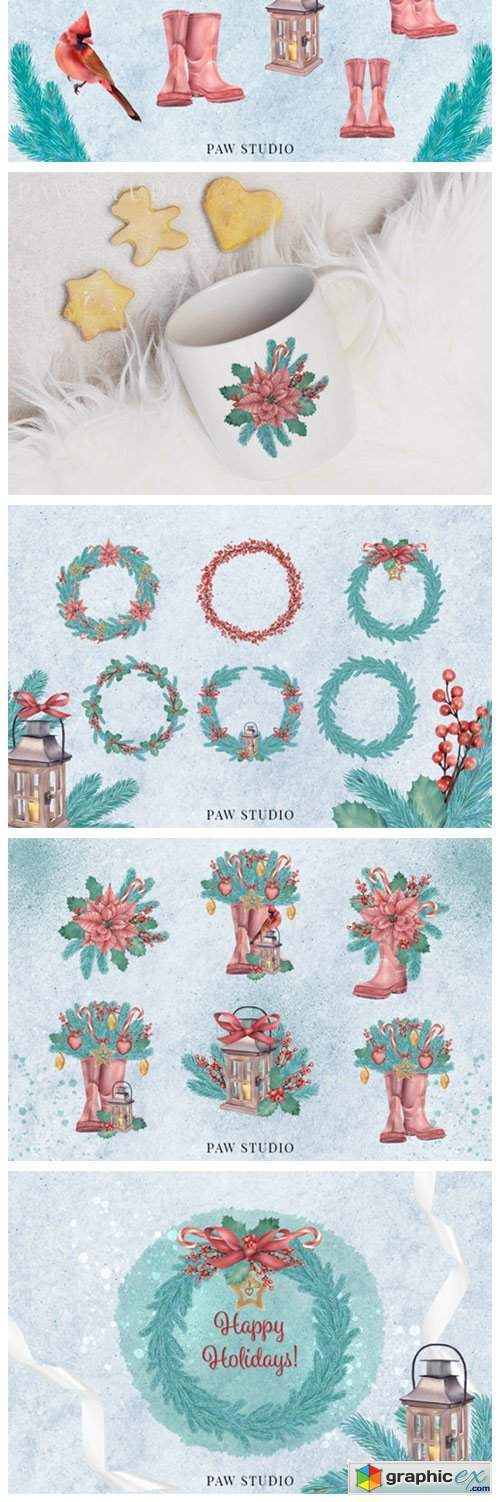 Christmas Clipart Wreath Winter Holiday