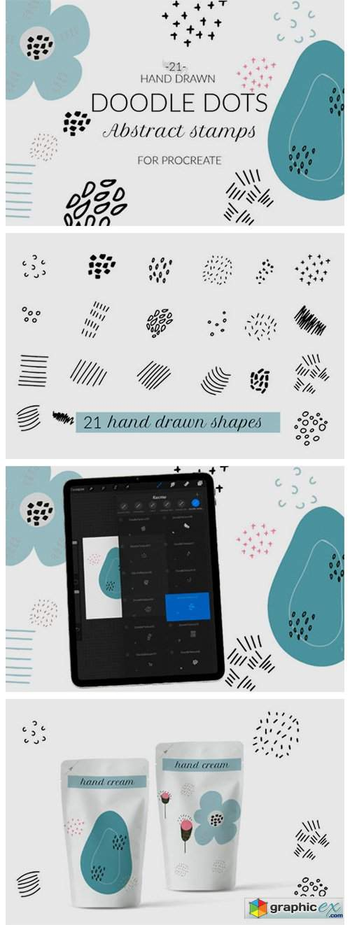 Doodle Abstract Texture Procreate Stamps