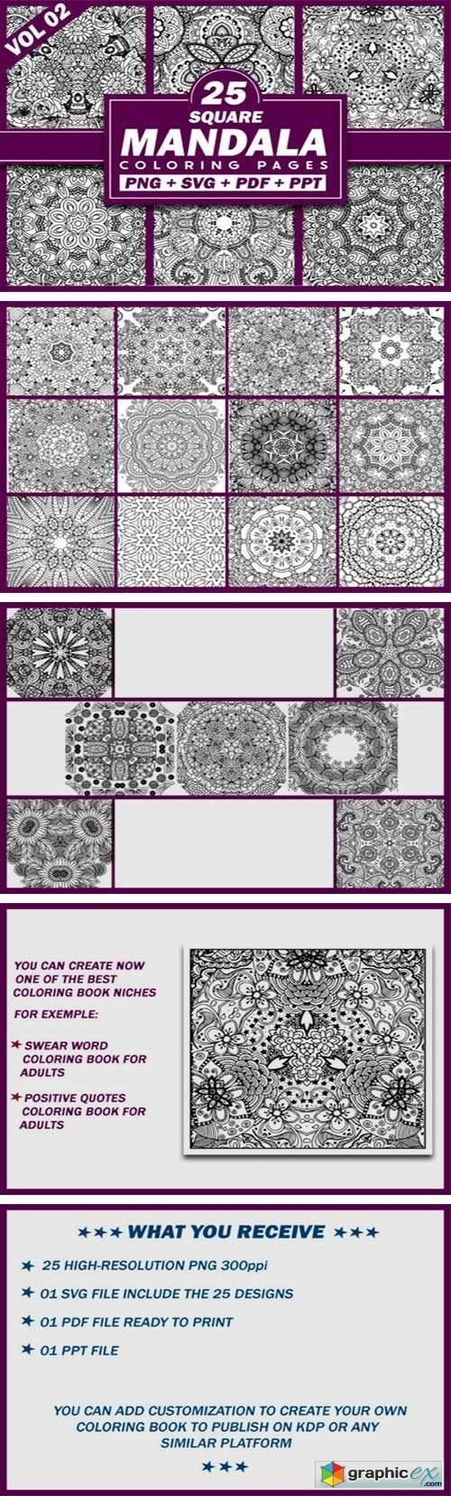 25 Square Mandala Coloring Pages | KDP