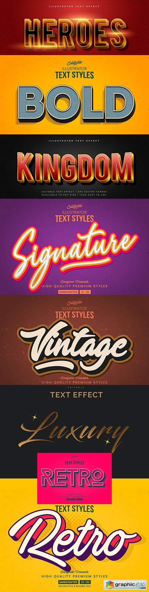 Editable font effect text collection illustration design 210