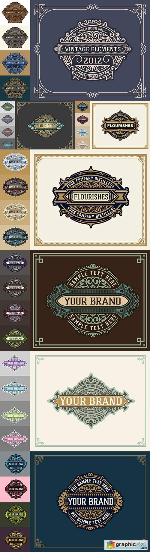 Luxury vintage logo template with decorative floral ornaments
