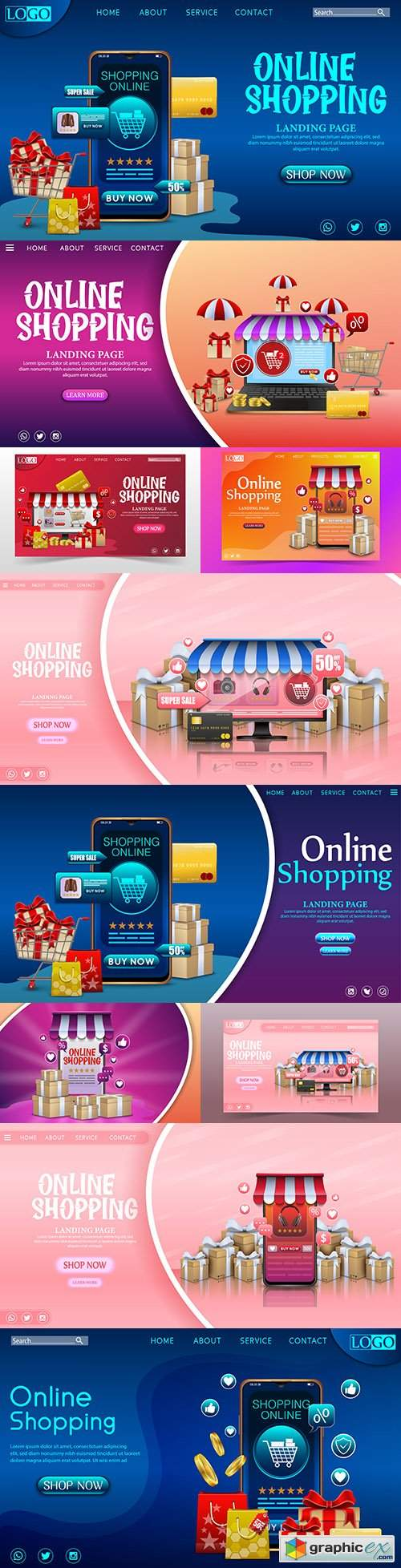 Online store on mobile app with gifts design concept