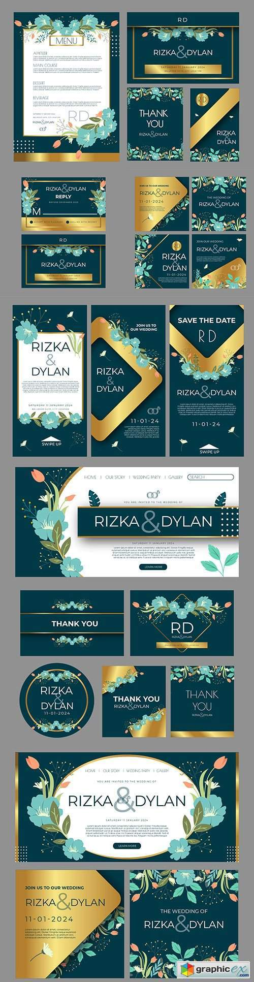 Flower wedding posts on instagram and stationery