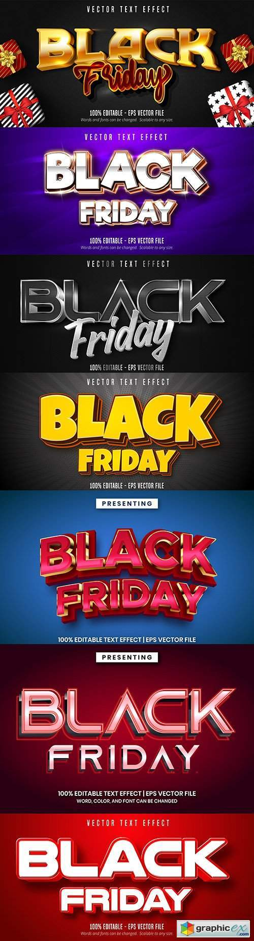 Black Friday Editable font effect text illustration design