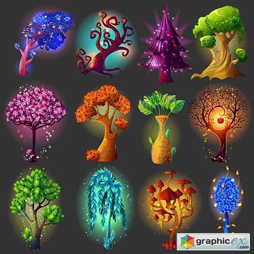 Cartoon Natural Illustrations Set