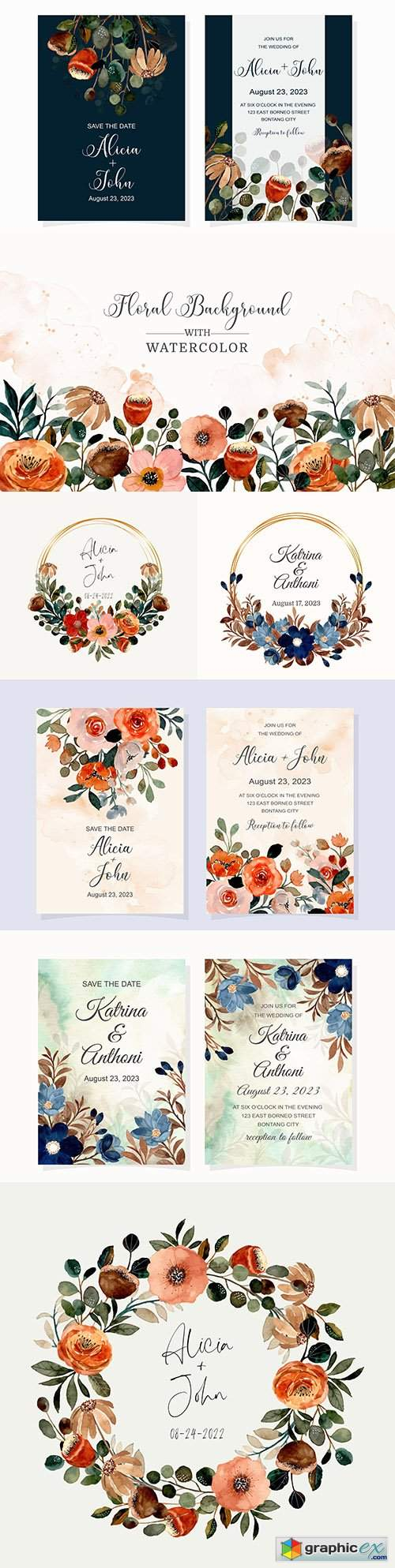 Wedding invitation with blue flower and brown watercolor leaves