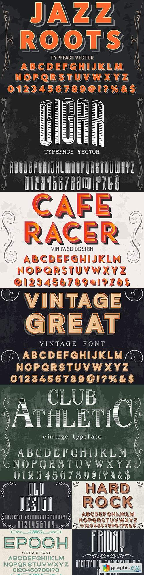 Vintage font effect text with alphabet illustration design