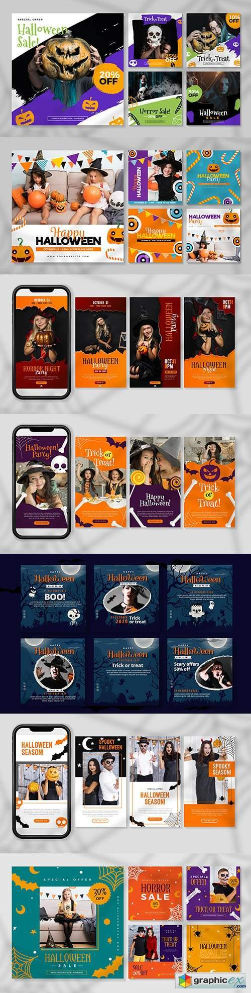 Halloween festival instagram story design posts
