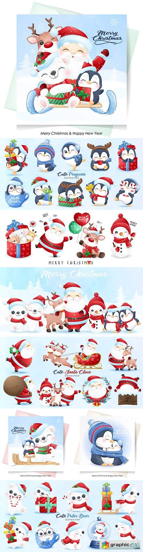 Cute Santa Claus and friends Christmas with watercolor illustration