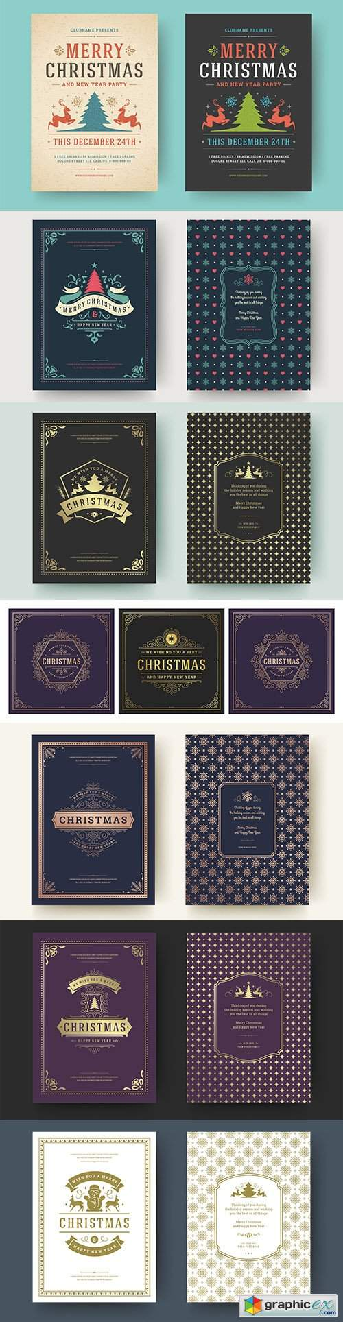 Christmas cards with vintage elements design template