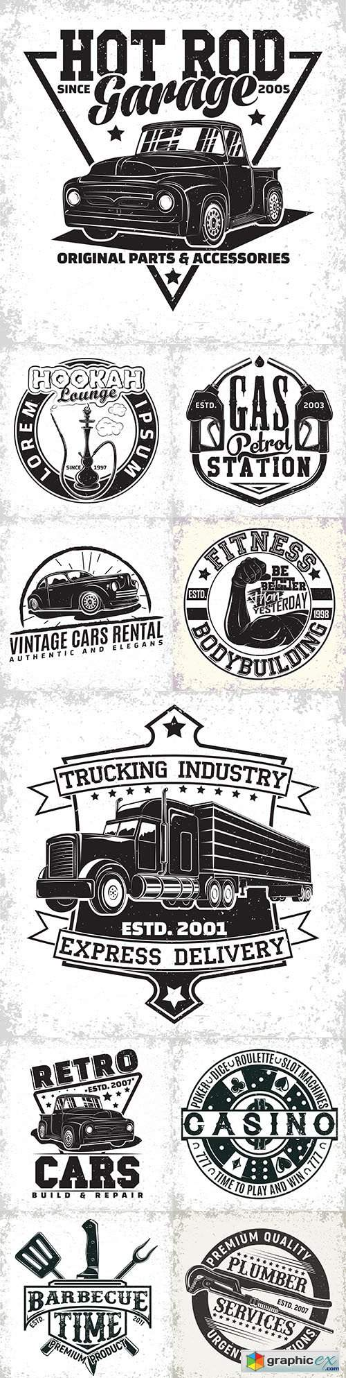Vintage logo and emblem monochrome design