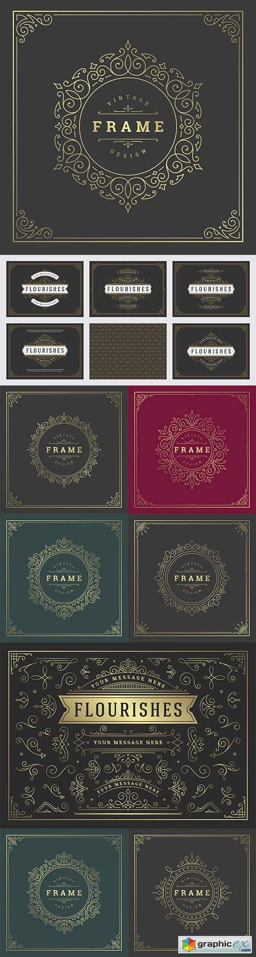 Vintage decorative ornament frame line design template