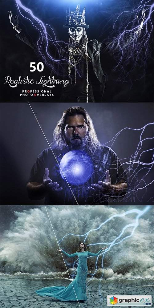 50 Realistic Lightning Overlays