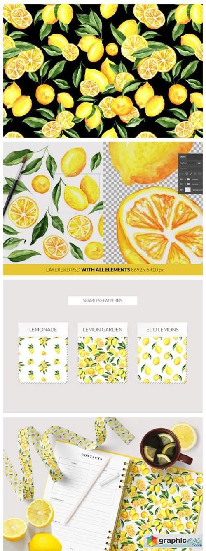 Lemon Watercolor Clipart & Patterns