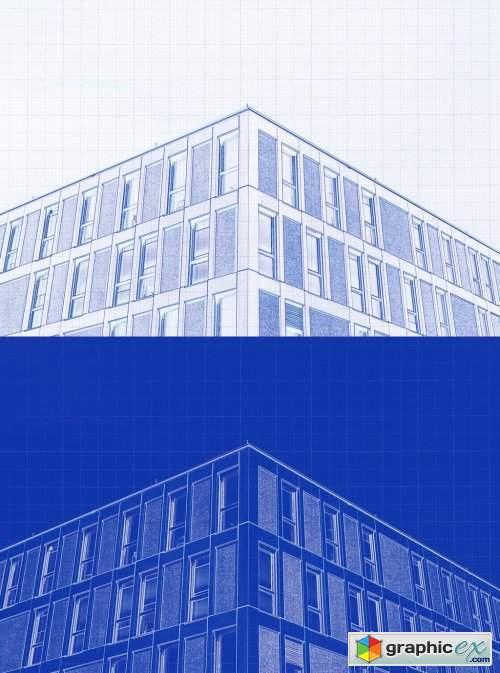 Blue Print Photo Effect Mockup