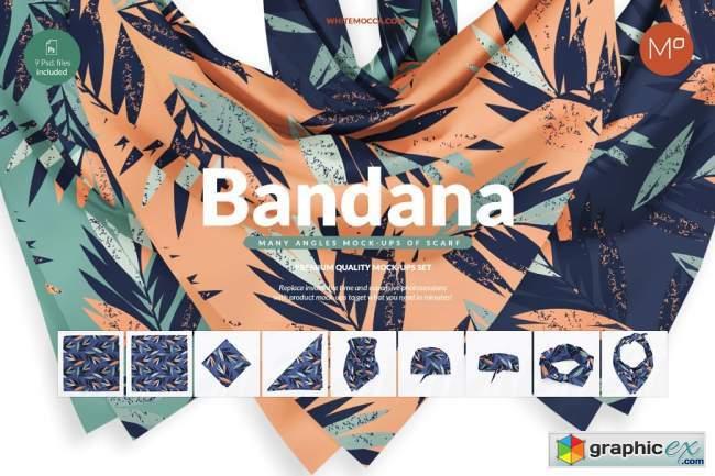 9x Bandana Scarf Mock-ups Set