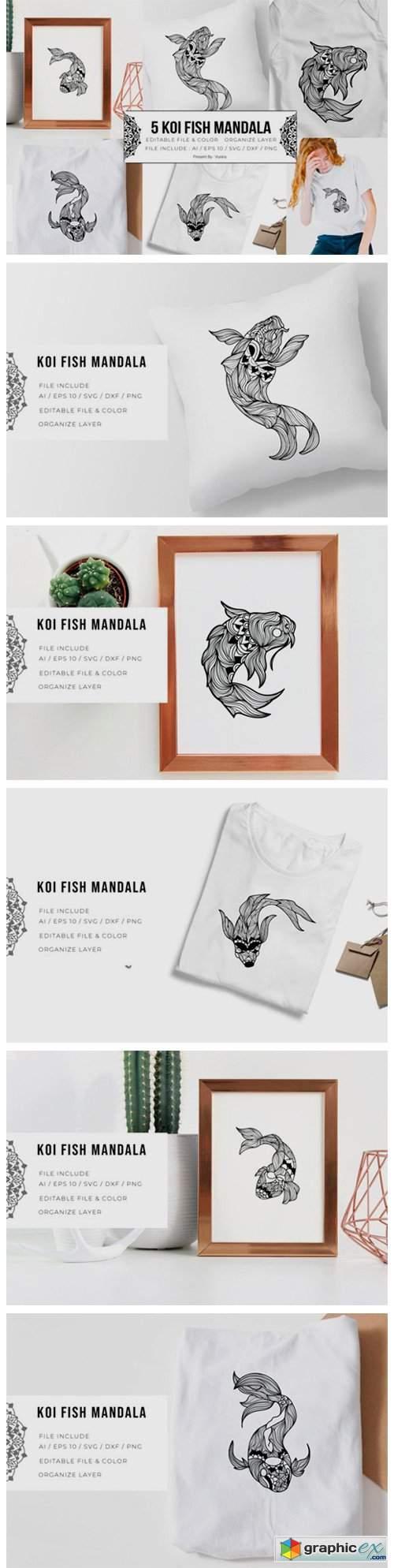 5 Koi Fish Bundle | Mandala