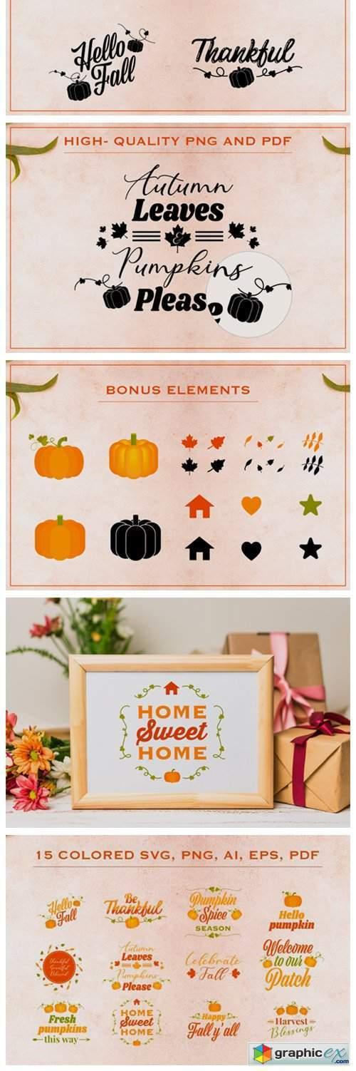 Fall SVG Bundle with Bonus Elements