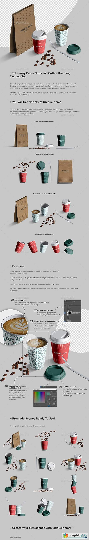 Takeaway Paper Cups and Coffee Branding Mockup Set