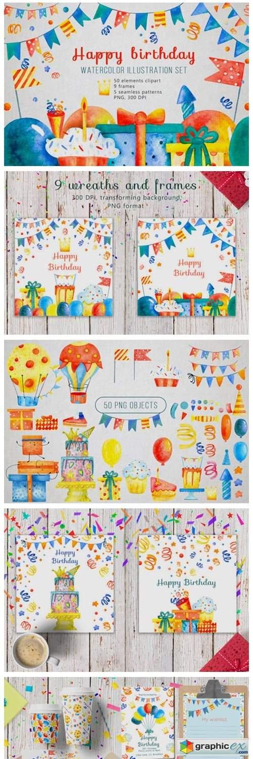 Happy Birthday Watercolor Set