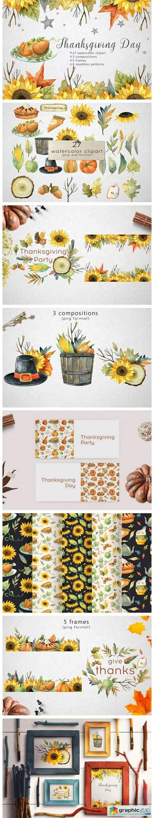 Watercolor Thanksgiving Day