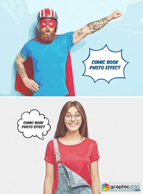Comic Book Photo Effect Mockup 383106880