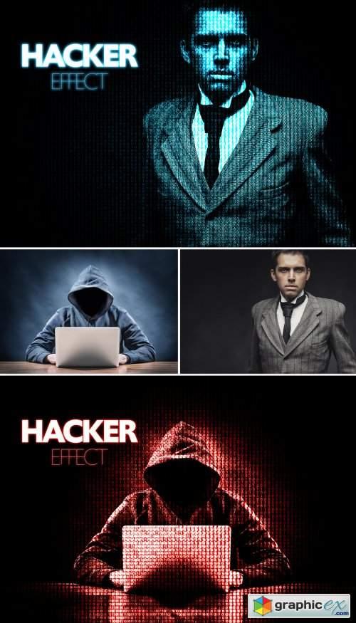 Hacker Digital Manipulation Effect Mockup