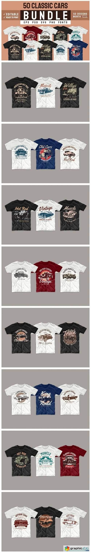 Vintage Car T-shirt Design Bundle Vector