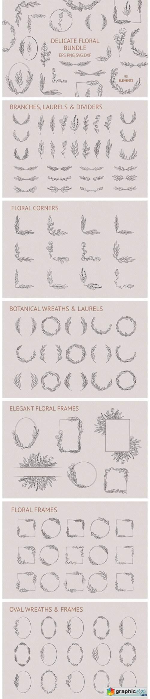 Hand Drawn Delicate Floral Bundle