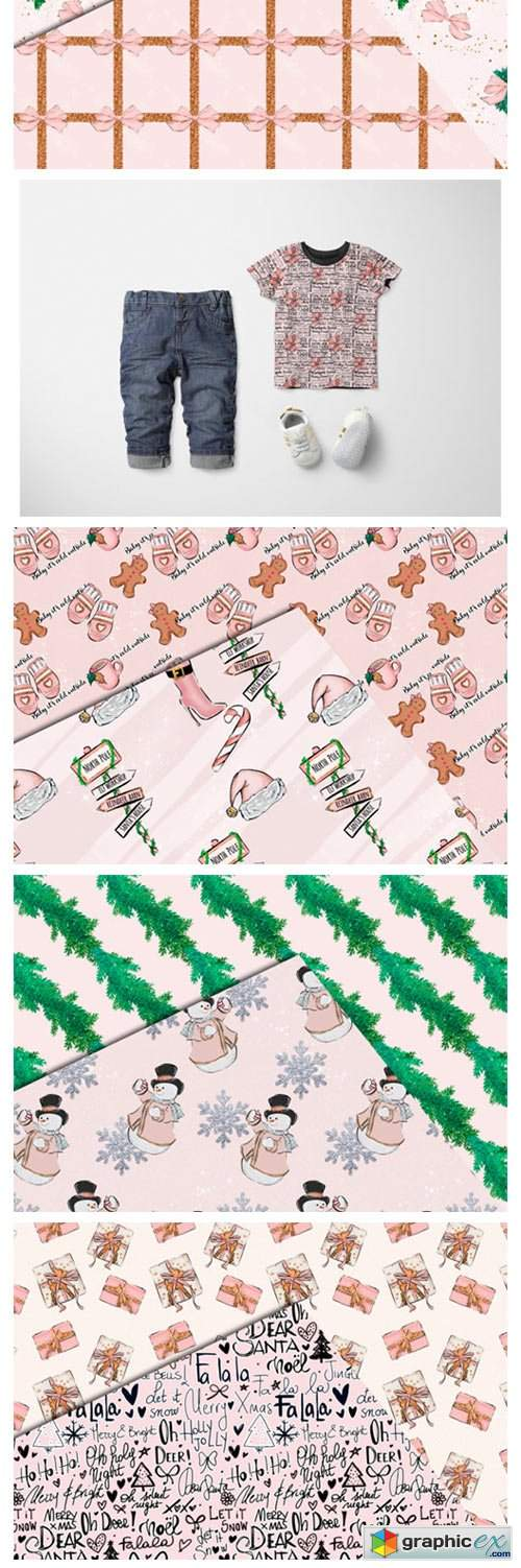 Pink Christmas Seamless Patterns