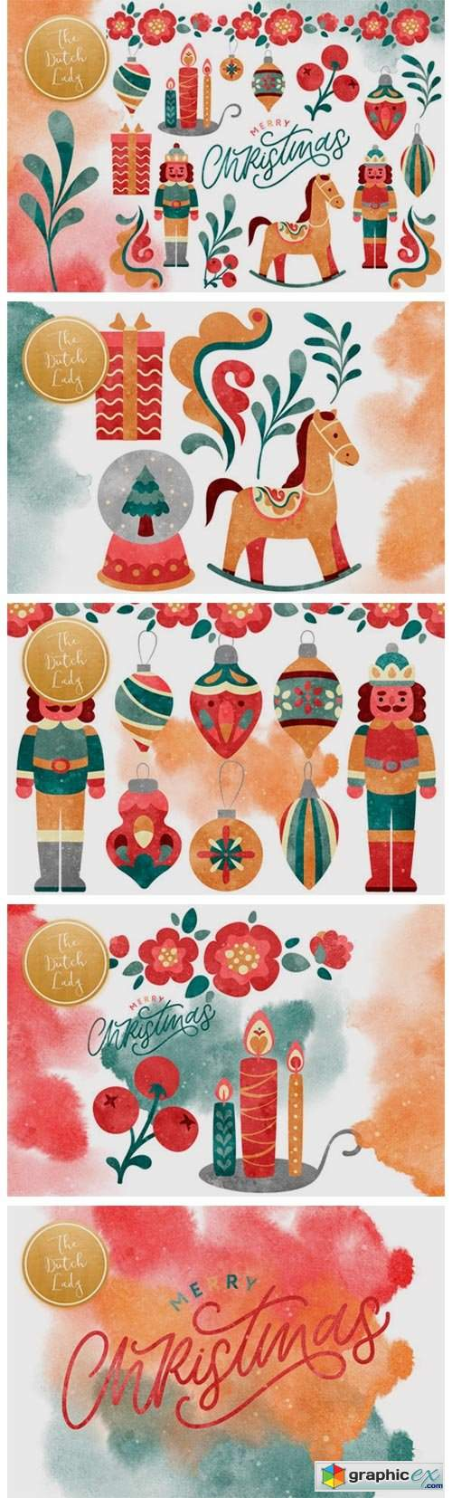 Christmas Toys & Ornaments Clipart Set
