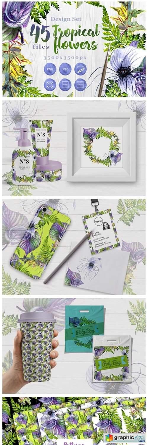 Tropical Flowers PNG Watercolor Set 4757821