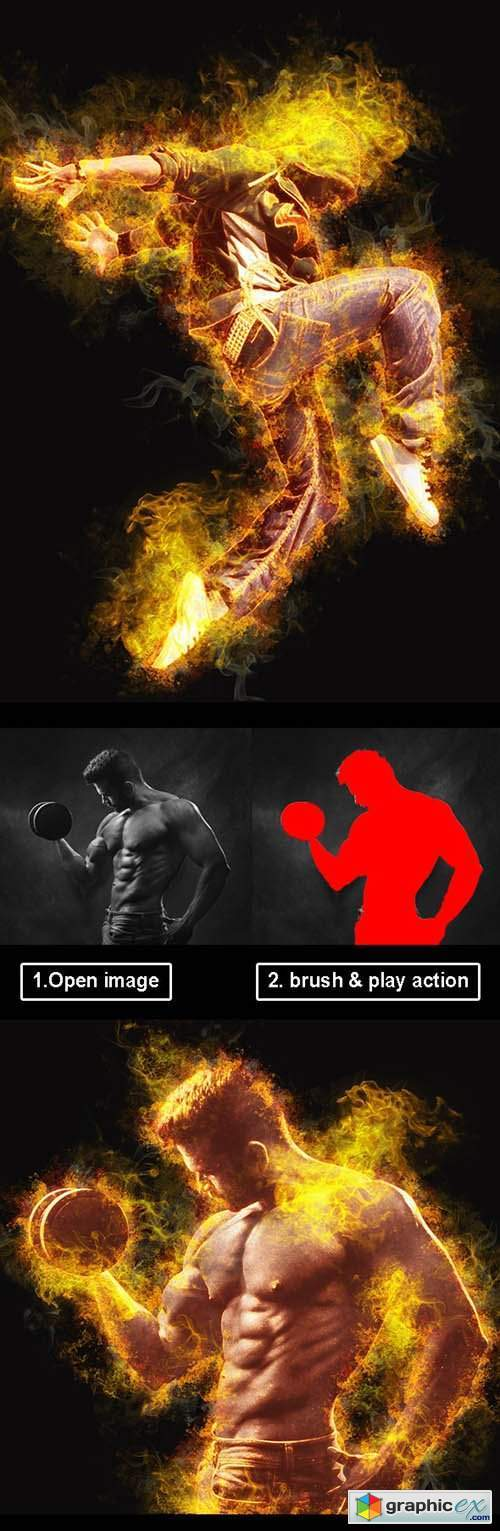 Amazing Flame Photoshop Action Vol 2