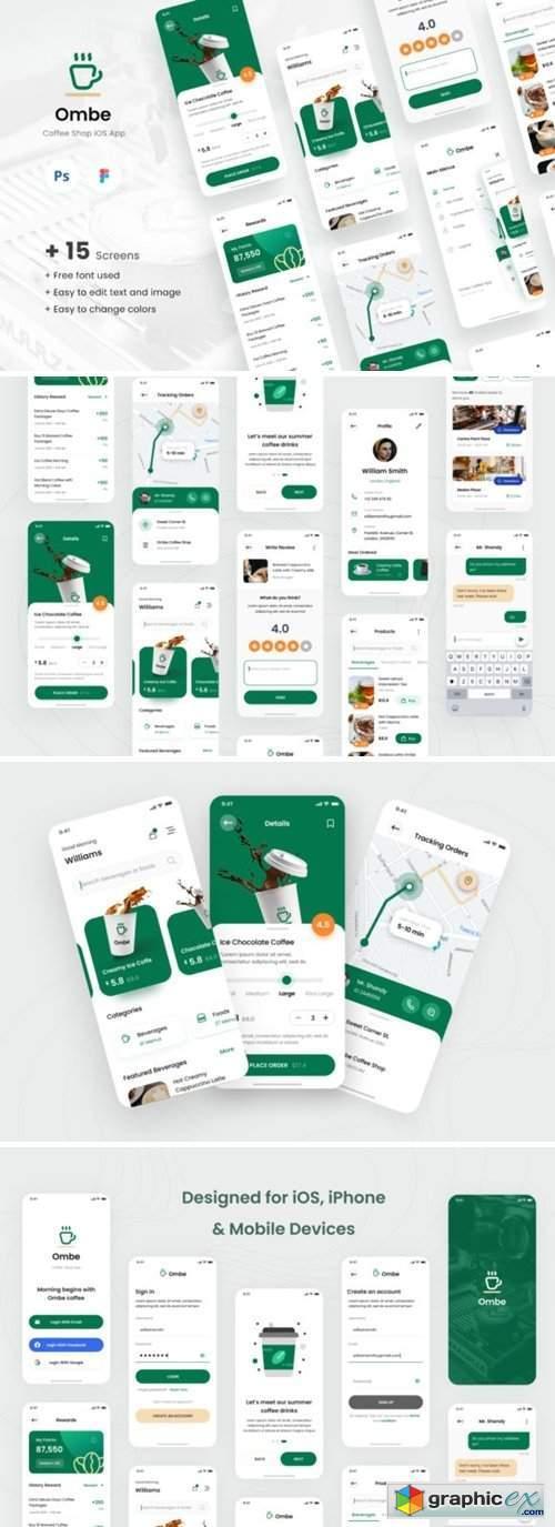 Ombe - Coffee Shop IOS App Design UI
