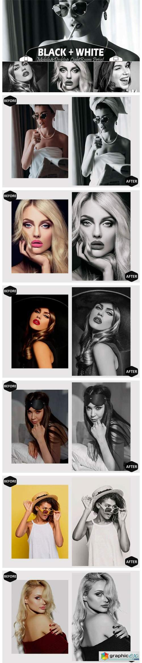 18 Black+White Lightroom Presets