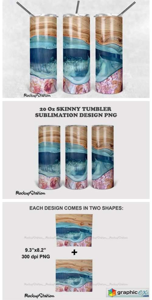 Wooden Marble 20oz Skinny Tumbler Design