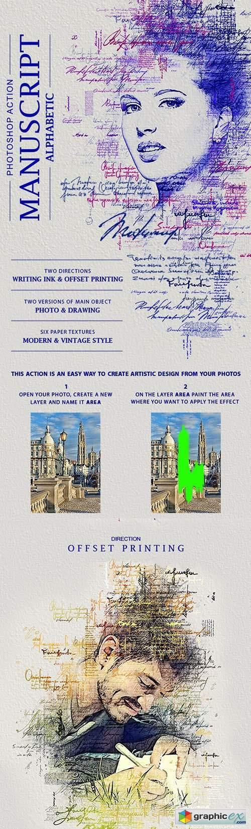 Manuscript (Alphabetic) Photoshop Action