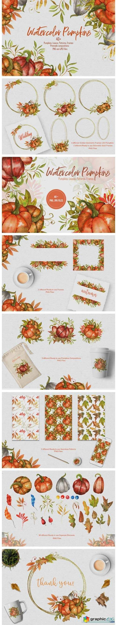 Watercolor Pumpkins Collection