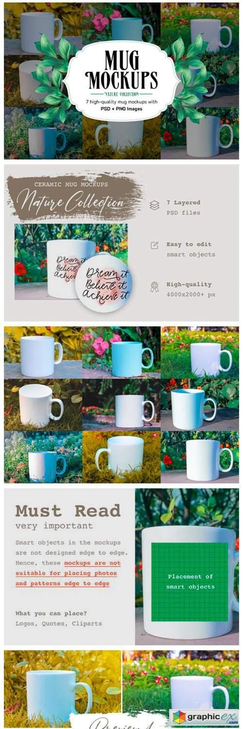 7 Ceramic Mug Mockups + Bonus