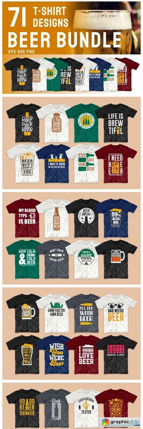 Beer Slogan T-shirt Designs Bundle
